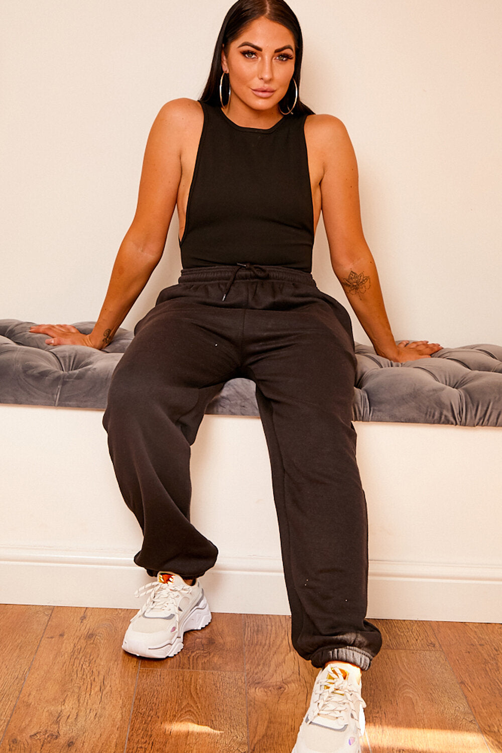 Drawstring fleece lined jogger BLACK