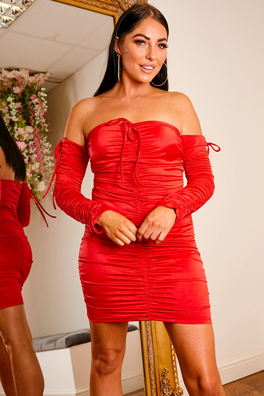 Nobu ruched mini dress RED