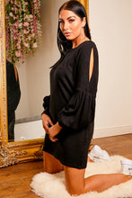 Load image into Gallery viewer, Balloon sleeve jumper dress BLACK