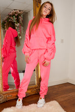 Load image into Gallery viewer, Ruched jog suit HOT PINK