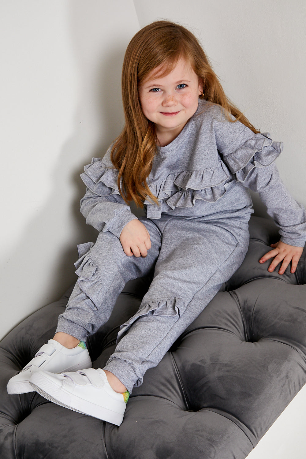 Mini Attire ruffles jogsuit GREY