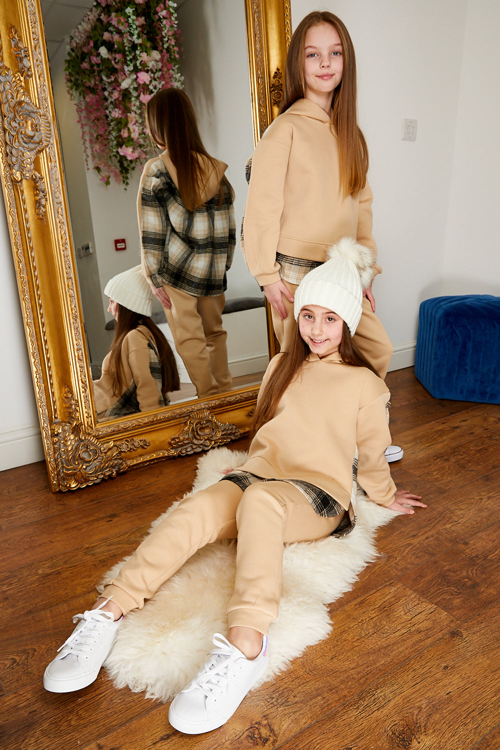 Mini Attire Shacket jog suit BEIGE
