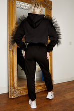 Load image into Gallery viewer, Flossy jog suit BLACK