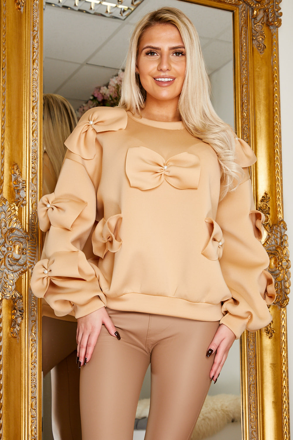 Bow jumper BEIGE