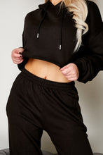 Load image into Gallery viewer, Cropped hooded jog suit BLACK