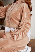 Load image into Gallery viewer, Ruched velour jog suit BEIGE