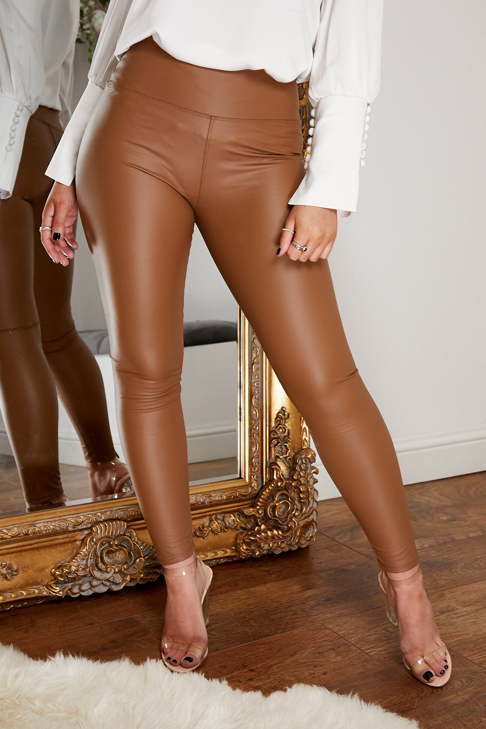 Leather look legging CAMEL