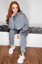 Load image into Gallery viewer, Cropped hooded jog suit CHARCOAL
