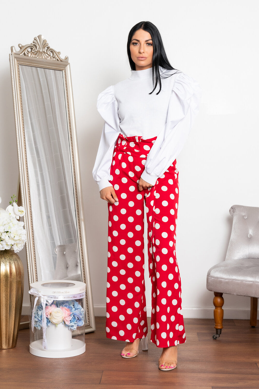 Spotted wide leg trouser red