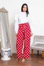Load image into Gallery viewer, Spotted wide leg trouser red