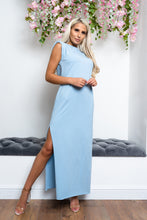 Load image into Gallery viewer, Shoulder padded maxi dress SKY