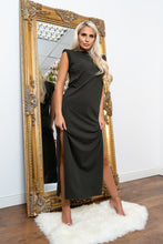 Load image into Gallery viewer, Shoulder padded maxi dress KHAKI