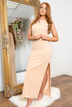 Load image into Gallery viewer, Shoulder padded maxi dress BEIGE