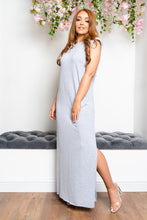 Load image into Gallery viewer, Shoulder padded maxi dress GREY