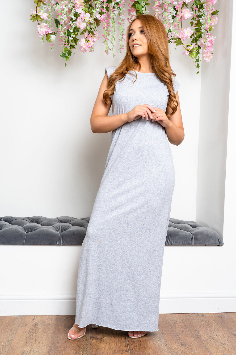 Shoulder padded maxi dress GREY