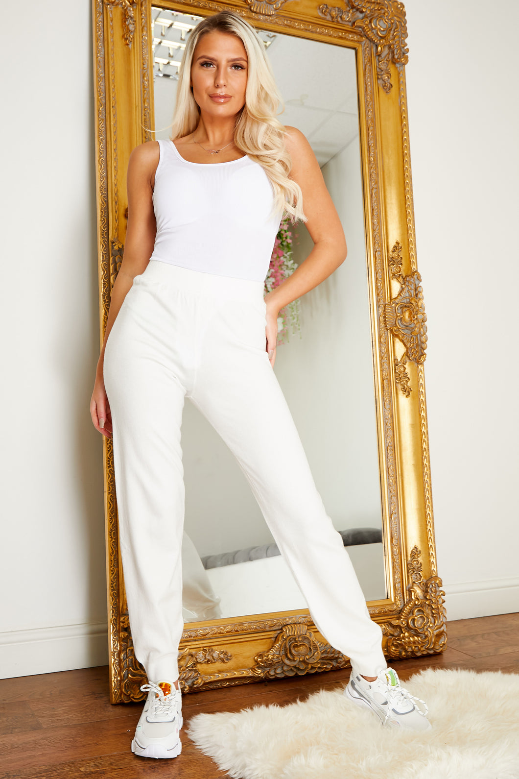 Soft knit jogger WHITE
