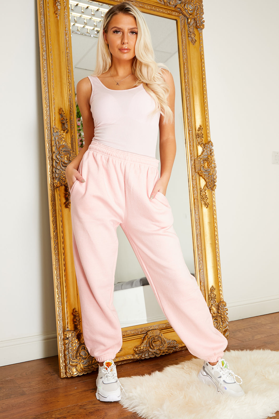 Drawstring fleece lined jogger PINK