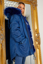 Load image into Gallery viewer, Parker coat DENIM/ROYAL BLUE