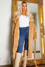 Load image into Gallery viewer, Deluxe faux fur longline coat SAND