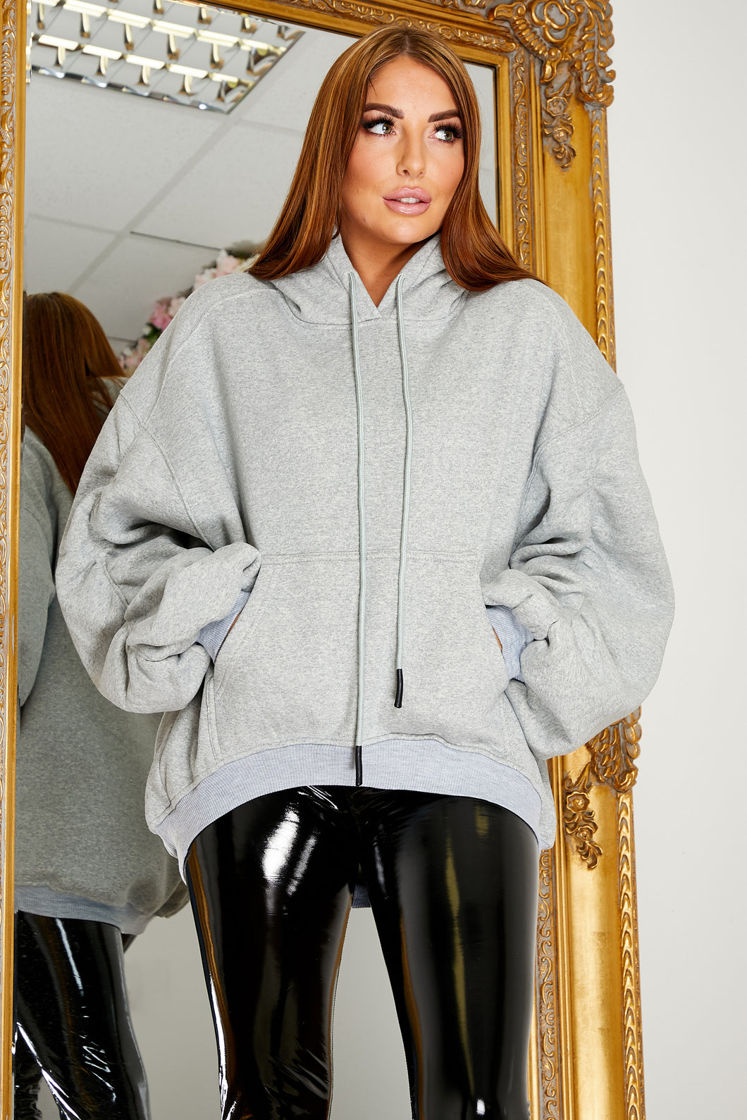 Oversized balloon sleeve hoody GREY