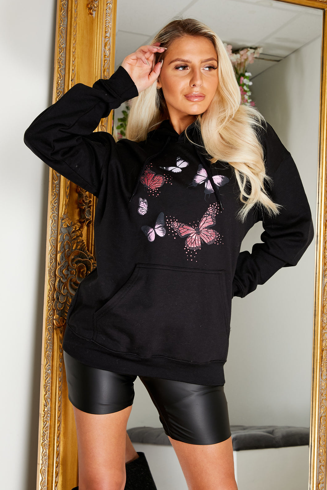 Butterfly fleece lined hoody BLACK