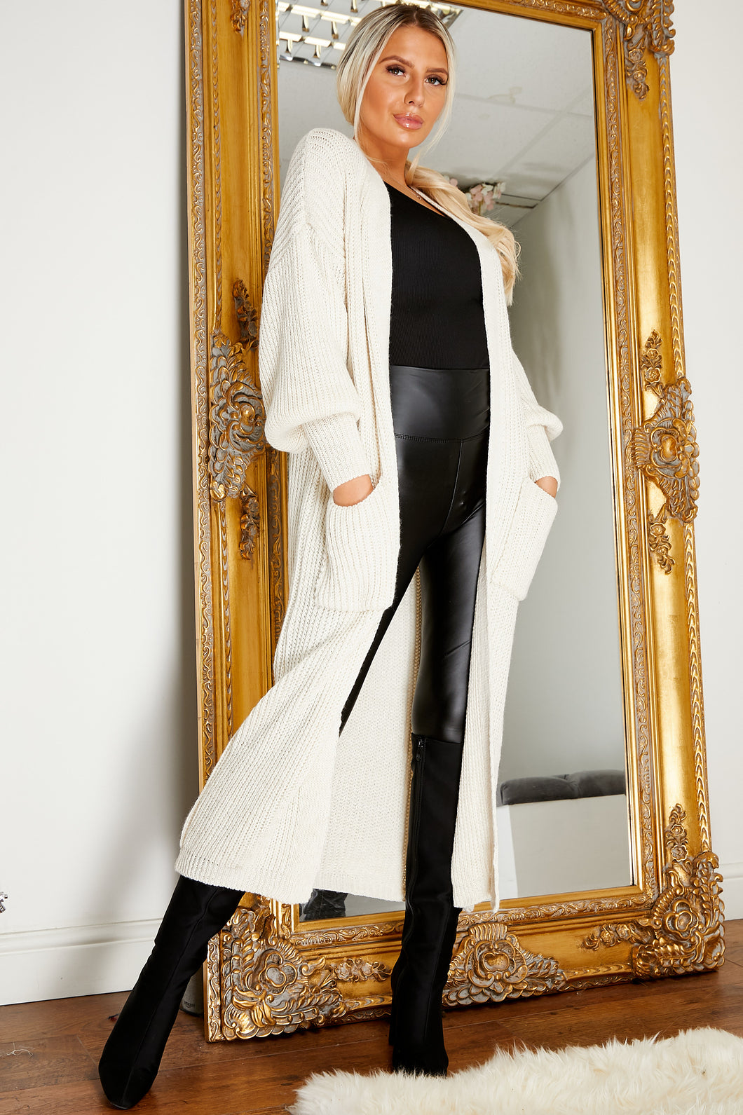 Balloon sleeve longline cardigan CREAM