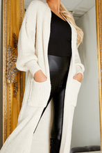 Load image into Gallery viewer, Balloon sleeve longline cardigan CREAM
