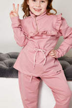 Load image into Gallery viewer, Mini Attire Frill jog suit PINK