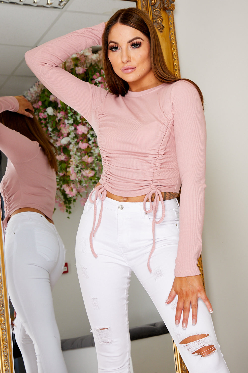 Ruched cropped top PINK