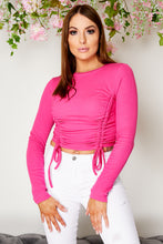 Load image into Gallery viewer, Ruched cropped top HOT PINK