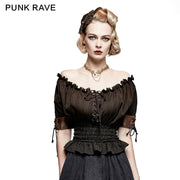 Steampunk Global Top Fashion Reversible Synthetic Slash Neck Punk T-shirts