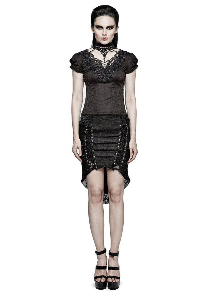 Swallow Tail Jacquard Short Sleeve Lace Gothic T-shirts