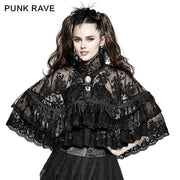 Flower Embroidered High Collar Lace Gothic Coat/lolita Cloak