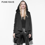 Black Personality Irregular Cloak Style Long Punk Jacket