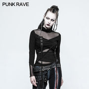 Skinny Sexy Black Mesh Punk T-shirts Tailor Network Mutil Split Design