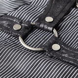 Handsome Striped Punk Shirt With Free Hanging Metal Chain