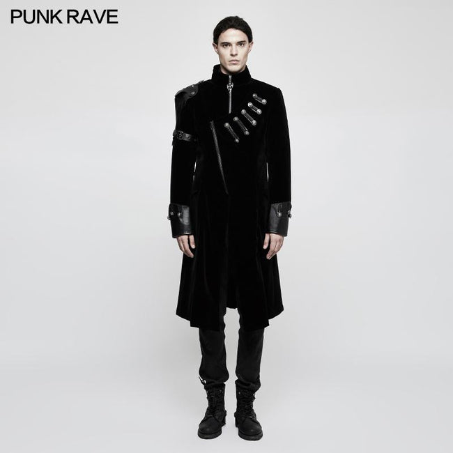 Winter Velvet Medium Length Punk Coat Double Breasted Jacket