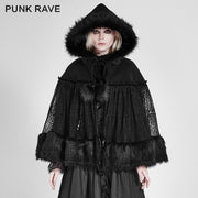 Lolita Style Warm Gothic Coat Woolen And Lace Fabric Cloak For Women