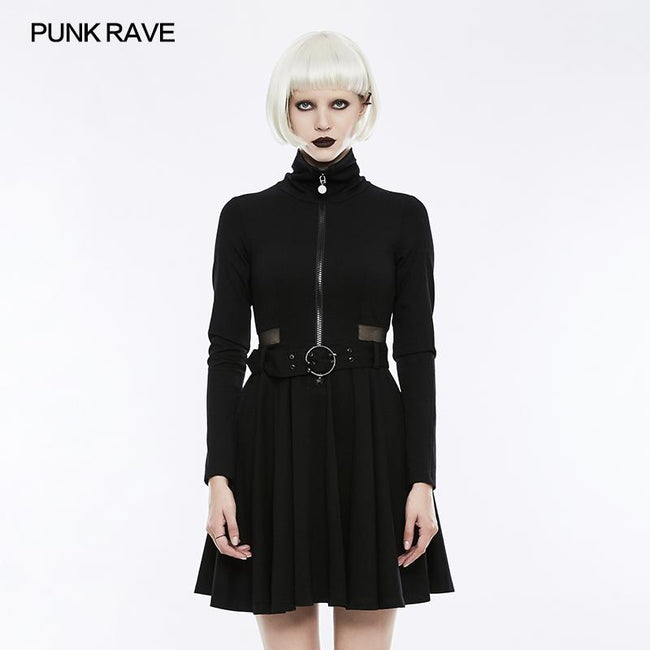 Handsome Knitted Punk Dress With Mesh Spliced Design