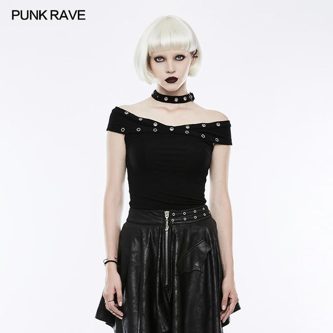 "Dark Black ""x"" Type Slim Punk T-shirts"