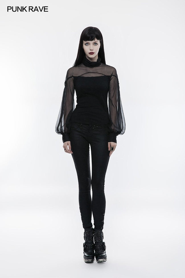 Perspective Lantern Sleeve Gothic T-shirt For Women
