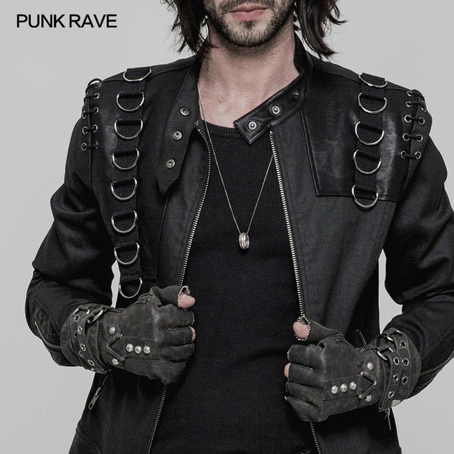 Super Cool Steampunk Leather Gloves Men Punk Accessory