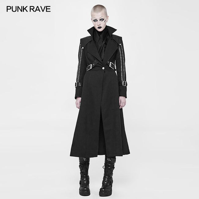 Handsome Long Punk Coat Twill Thin Woolen Fabric Trench Coat