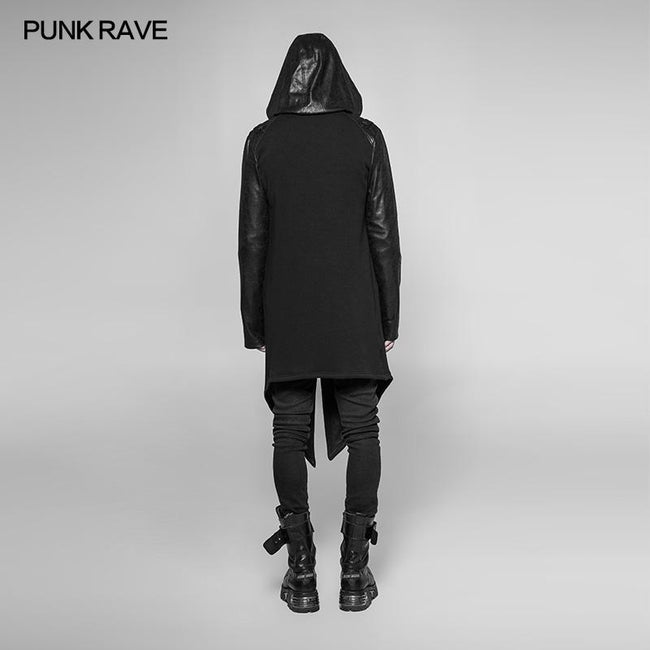 Dark Punk Leather Crack Knit Stitching Hooded Cardigan