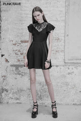 Elegant Lace Stitching Chiffon V-collar Gothic Dress