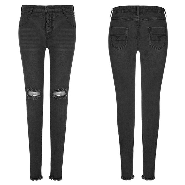 Women's Black Knees Broken Holes Punk Jeans Super Slim Elastic Denim Trousers