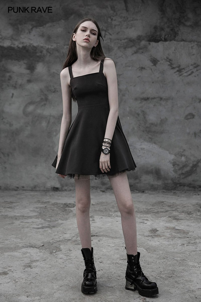 Punk Tie Rope Thick Chiffon Design Dress