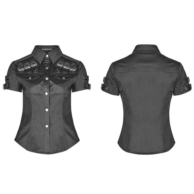 Military Short Sleeve Shirt With PU Loop And Metal Adjustment Buckle Blouse