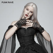 Gothic Black Lace Tulle Glove - One Pair