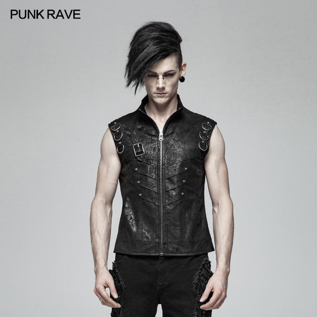 Men Punk Standing Collar Sleeveless Vest